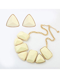 Cranes Beige Geometrical Shape Decorated Simple Design Alloy Jewelry Sets
