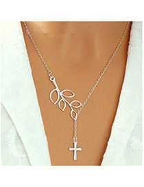Eco Silver Color Cross Leaf Shape Decorated Simple Design Alloy Chains