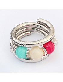 Fashion Multicolor Diamond Decorated Multilayer Design Alloy Fashion Bangles