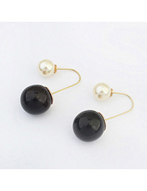Floral Black & White Pearl Decorated Simple Design Alloy Stud Earrings