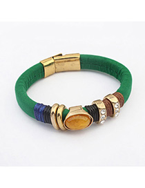 Statement Green Diamond Decorated Simple Design Alloy Korean Fashion Bracelet