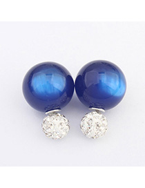 Slim Blue Candy Color Round Shape Design Alloy Stud Earrings