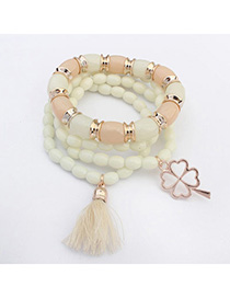 Jockey White Clover Shape Decorated Multilayer Design Alloy Korean Fashion Bracelet