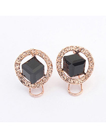 Tanzanite Black Diamond Decorated Simple Design Alloy Stud Earrings