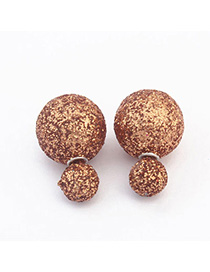 Vera Coffee Pure Color Round Shape Design Resin Stud Earrings