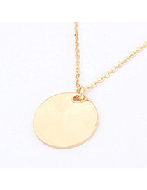 Faux Gold Color Round Pendant Decorated Simple Design Alloy Chains