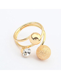 Hemming Gold Color Diamond Decorated Simple Design Alloy Korean Rings