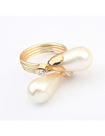 Embossed White Waterdrop Shape Decorated Simple Design Alloy Korean Rings