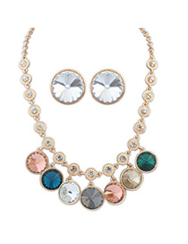 Slim Multicolor Diamond Decorated Round Shape Design Alloy Jewelry Sets