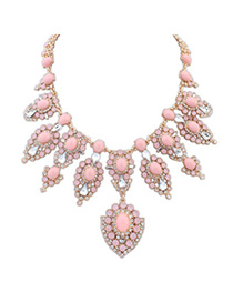 Recycled Pink Diamond Decorated Flower Design Alloy Fashion Necklaces