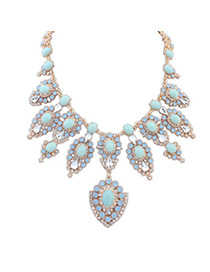 Gorgeous Light Blue Diamond Decorated Flower Design Alloy Fashion Necklaces