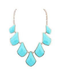 Stretch Blue Gemstone Decorated Geometrical Shape Design Alloy Korean Necklaces