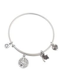 Beige Silver Color Round Shape Decorated Simple Design Alloy Fashion Bangles