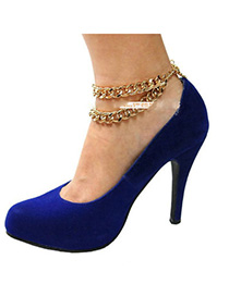Drawstring Gold Color Chain Decorated Double Layer Design Alloy Fashion Anklets