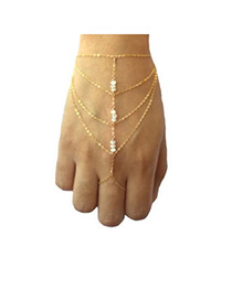 24K Gold Color Beads Decorated Multilayer Design Alloy Korean Fashion Bracelet