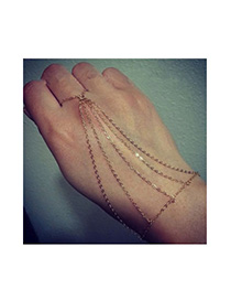 Physical Gold Color Mutlilayer Simple Design Alloy Korean Fashion Bracelet