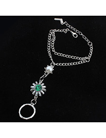 Decorative Green Pearl Decorated Flower Design Alloy Korean Fashion Bracelet