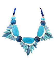 Sweet Blue Gemstone Decorated Geometry Design Alloy Bib Necklaces