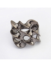 Punk Black Pure Color Hollow Design Alloy Korean Rings