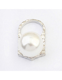 Punk Silver Color Pearl Decorated Simple Design Alloy Korean Rings