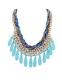 occident Blue Diamond Decorated Waterdrop Shape Pendant Design Alloy Bib Necklaces