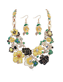 charming Yellow Flower Shape Decorated Simple Design Alloy Jewelry Sets