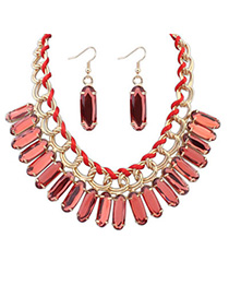 elegant Padparadscha Oval Shape Decorated Weave Design Alloy Jewelry Sets