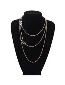 Popular Gold Color Eight-shape Decorated Multilayer Design Alloy Chains