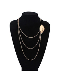 Fashion Gold Color Leaf Shape Decorated Multilayer Design Alloy Chains