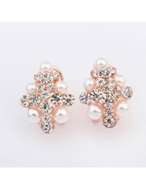 Brilliant White Pearl Decorated Simple Design Alloy Stud Earrings