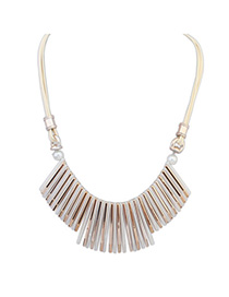 Joker White Tassel Decorated Simple Design Alloy Bib Necklaces