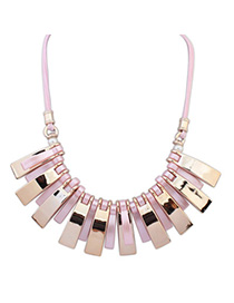 Newly Women Pink Rectangle Shape Decorated Tassle Design Alloy Bib Necklaces
