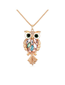 Sweet Gold Color & Multicolor Owl Shape Decorated Simple Design Alloy Chains
