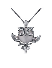 Swanky Black Diamond Decorated Owl Shape Design Alloy Chains