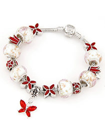 Antique Red Beads Decorated Eiffel Butterfly Shape Design Alloy Fashion Bracelets
