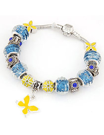 Gorgeous Blue & Yellow Diamond Decorated Butterfly Shape Design Alloy Fashion Bracelets