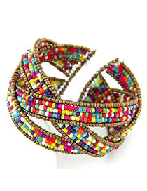 Charming Multicolor Beads Decorated Multilayer Design Alloy Korean Fashion Bracelet