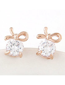 Sweet Gold Color Diamond Decorated Bowknot Shape Design Alloy Stud Earrings
