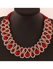 Luxurious Red Beads Decorated Weave Design