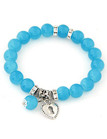 Fresh Blue Beads Decorated Heart Shape Design Alloy Korean Fashion Bracelet