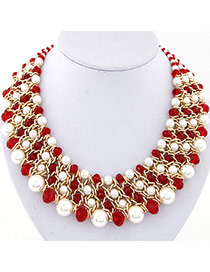 Fashion Red Pearl Decorated Multilayer Weave Design Alloy Bib Necklaces