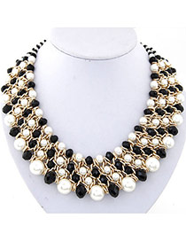 Fashion Black & White Pearl Decorated Multilayer Weave Design Alloy Bib Necklaces