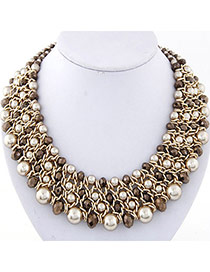 Fashion Gold Color & Brown Pearl Decorated Multilayer Weave Design
