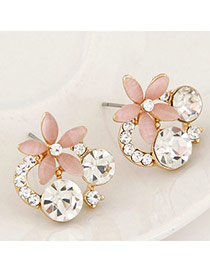 Sweet Red Diamond&rose Flower Decorated Simple Design  Alloy Stud Earrings