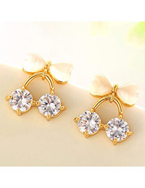 Sweet Champagne Gold Diamond Decorated Bowknot Shape Design  Cuprum Fashion earrings