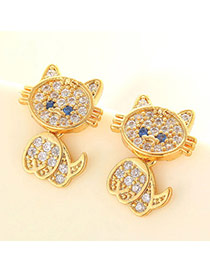 Lovely Champagne Gold Diamond Decorated Cat Shape Design  Cuprum Fashion earrings