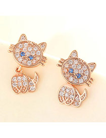 Lovely Rose Gold Diamond Decorated Cat Shape Design  Cuprum Fashion earrings