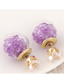 Brilliant Light Purple Diamond Decorated Round Shape Design