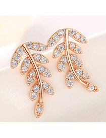 Classic Rose Gold Diamond Decorated Leaf Shape Design  Cuprum Fashion earrings