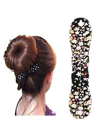 Pretty Black Flower Pattern Hairdisk Design  Fabric Beauty tools